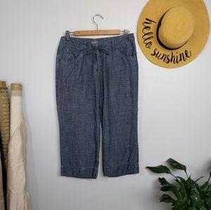 J. Jill Tencel Linen Chambray Wide Leg Crop Pants